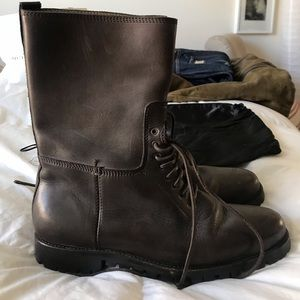 Men's brown leather YSL boot.